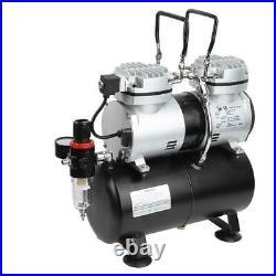 1/4HP Air Compressor Pump Airbrush Kit Dual Cylinder Spray Painting Tattoo Nail