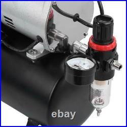 1/4HP Air Compressor Pump Dual Airbrush Kit Cylinder Spray Paint Tattoo 3.5L USA