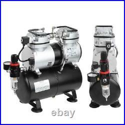 1/4HP Airbrush Compressor Kit Dual Cylinder Spray Air Brush Set Tattoo Nail Art