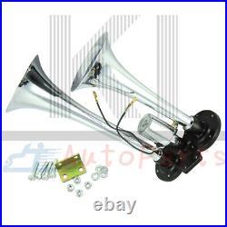 12V 150 PSI 3 Liter Air Compressor with Chrome Dual Train Air Horn 2 Trumpet Kit