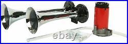 150DB 12V Loud Dual Trumpet Air Horn Compressor Kit For Van Train Car Truck Boat