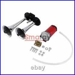 2Pcs Universal 12V Air Compressor Dual Trumpet Kit for Air Horn Car Truck Boat