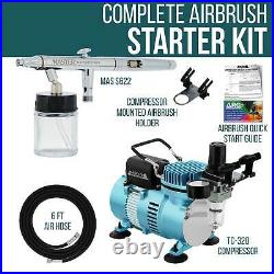 3 Tip 0.3 0.5 0.8mm Siphon Feed Dual-Action Airbrush Pro Set Kit Air Compressor