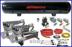 5 gallon 9 port black steel air tank 580 chrome air compressors & wiring kit