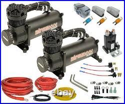 5 gallon 9 port steel air tank black 480 dual air compressors & wiring kit
