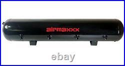 5 gallon 9 port steel air tank black 580 dual air compressors & wiring kit