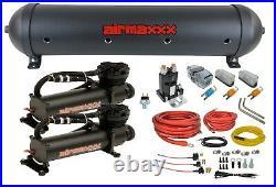 5 gallon spun aluminum air tank black 480 dual air compressors & wiring kit