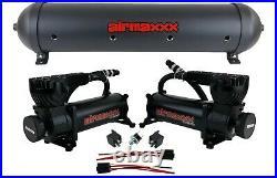 5 gallon spun aluminum air tank black 580 dual air compressors & wiring kit