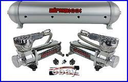 5 gallon spun aluminum air tank brushed 580 chrome air compressors & wiring kit