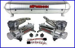 5 gallon spun raw aluminum air tank 480 chrome air compressors & wiring kit