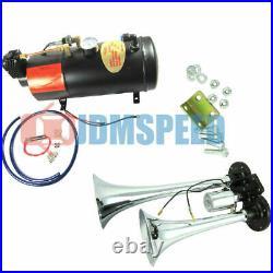 Air Compressor Complete System 150 PSI +Train Horn Kit Loud Dual 2 Trumpet