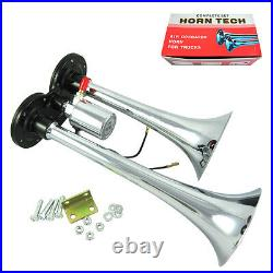 Air Compressor Train Horn Kit Loud Dual 2 Trumpet with 120 PSI Complete System