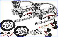 Air Suspension Kit for Truck/Car Bag/Ride, Dual Compressor, 5G Aluminum Tank