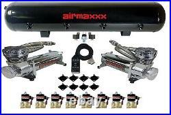 AirMaxxx Chrome 480 Air Compressors 1/2 Valves Air Ride Black 7 Switch Tank