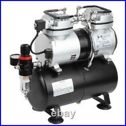 Airbrush Compressor Kit 1/4HP Dual Cylinder Spray Set Tattoo Nail Art 110V