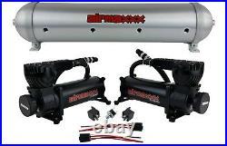 Airmaxxx brushed 5 gallon aluminum air tank & 580 black dual air compressors