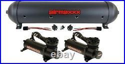 Airmaxxx dual 480 black air compressors & black 5 gallon aluminum air tank
