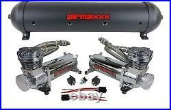 Airmaxxx dual 480 chrome air compressors & black 5 gallon aluminum air tank