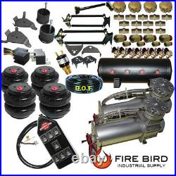 D Chevy S10 Air Kit Dual Compressor 25 & 26 Bags 3/8 Valves 3-gal tank7 switch