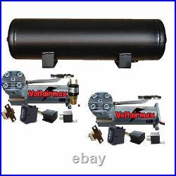 DC480 Pewter Dual Air Compressors 9 Gal 5 port Air Tank 90-120psi Press Switch