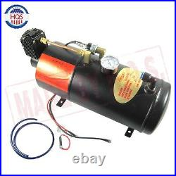 Dual 2 Trumpet Chrome Train Air Horn Kit, with 150 PSI 3 Liter 128V Air Compressor