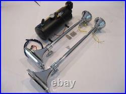 Dual Chrome 150 DB Trumpet LOUD Train Semi Air Horn Kit 2 Horns Set w Compressor