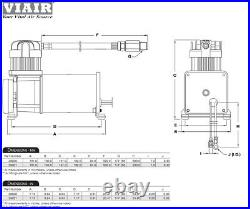 Dual Trumpet Big Truck Air Horn with 150psi VIAIR 280c Compressor 2.5 Gallon Kit