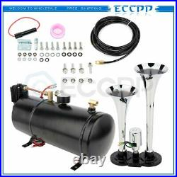 Dual Trumpet Loud Complete System Air Train Horn Kit With 120 PSI Air Compressor