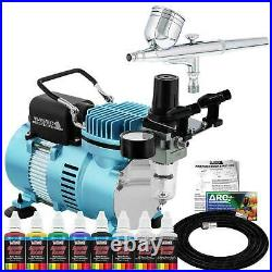 MASTER AIRBRUSH Gravity Dual-Action SET Air Compressor Primary Colors Paint Kit
