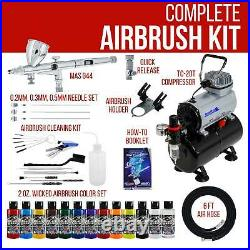 Master Dual Action Airbrush Compressor Kit 12 Wicked Paint Colors Hobby Art Compressor Kit Dual