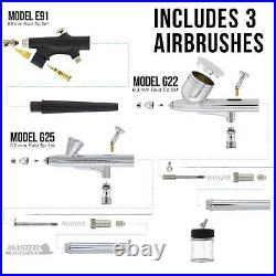 Master 3 Airbrush Dual Fan Air Compressor Professional Kit, Gravity Siphon Feed