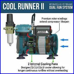 Master 3 Airbrush Set Pro Dual Fan Air Compressor Kit, Hobby, Auto, Cake, Art