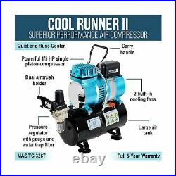 Master Airbrush Cool Runner II Dual Fan Air Tank Compressor System Deluxe Kit