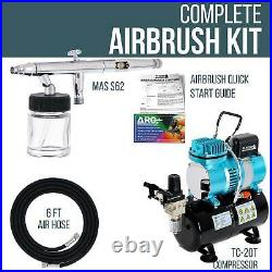 Master S62 0.5mm Siphon Feed Dual-Action Airbrush Set Kit Air Compressor with Tank