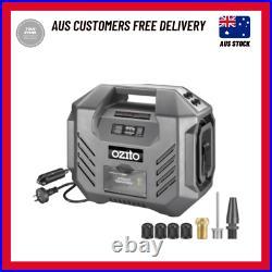 Ozito 12V DC/240V AC Dual Power Inflator Portable Air Compressor & Adapter Kit