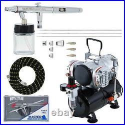 PRO SET 3 Tip 0.3 0.5 0.8 Siphon Dual-Action Airbrush Kit Twin Piston Compressor