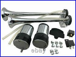 SUPER LOUD! 145DB Universal Dual Chrome Trumpet Blaster Horns 2 Compressor Kit