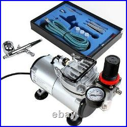 Timbertech Airbrush Kit with Compressor ABPST05 Double Action Airbrush Gun an