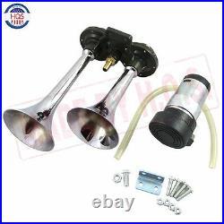 Universal 12v Dual Trumpet Air Horn Compressor Kit Train Car Truck Boat 150db