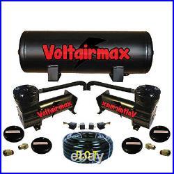 V Airbagit480 Dual Black Compressors 5 Gal Tank Air Bag Suspension 200psi 5port