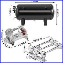 VEVOR 170db Train Air Horn Kit 3 Trumpet with Dual 200 PSI Air Compressors Loud