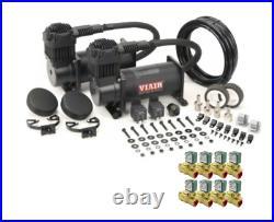 Viair 444C Stealth Black Dual Compressor w 8 ASCO 3/8 NPT 12V DC Valves, Bags