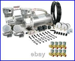 Viair 480C Pewter Dual Air Compressor with 8 3/8 NPT 12V DC ASCO Valves, Bags