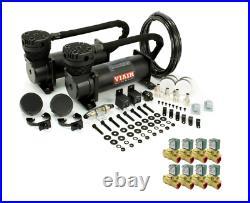 Viair 480C Stealth Black Dual Compressor w 8 3/8 NPT 12V DC ASCO Valves, Bags
