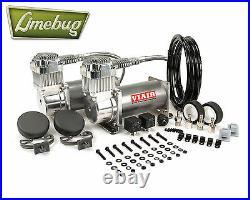 Viair Chrome Dual Twin 380C Air Compressor Kit (200PSI) Air Ride Kit 12 Volt